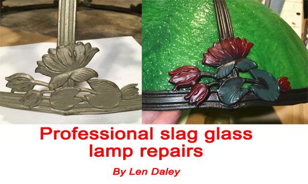 Slag glass lamp repair
